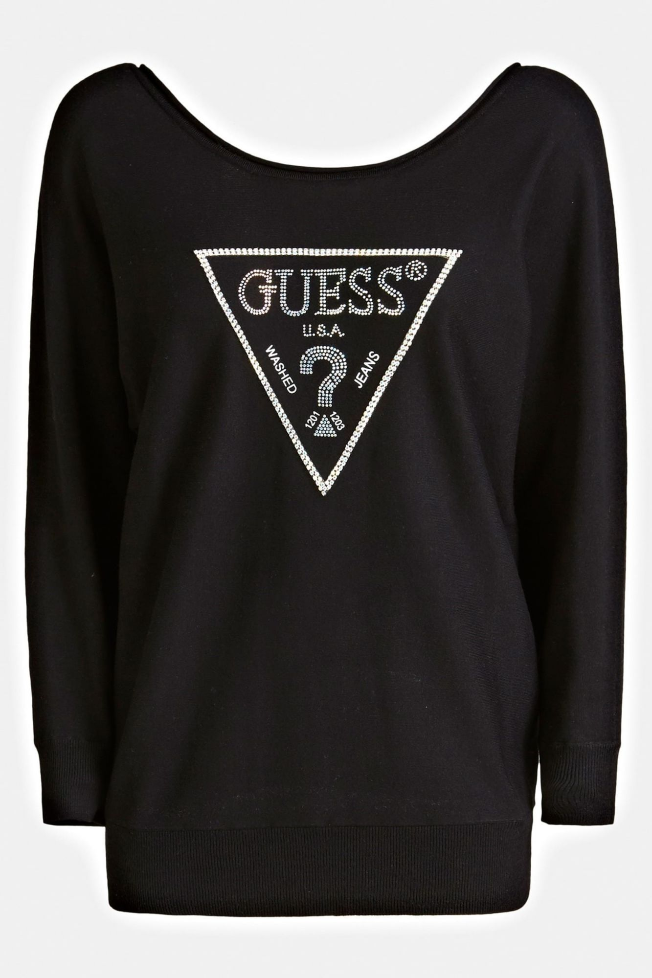 Guess pulover negru Jewel Sweater