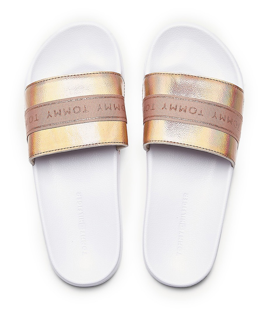 Tommy Hilfiger papuci pudra Tommy Glitter Pool Slide