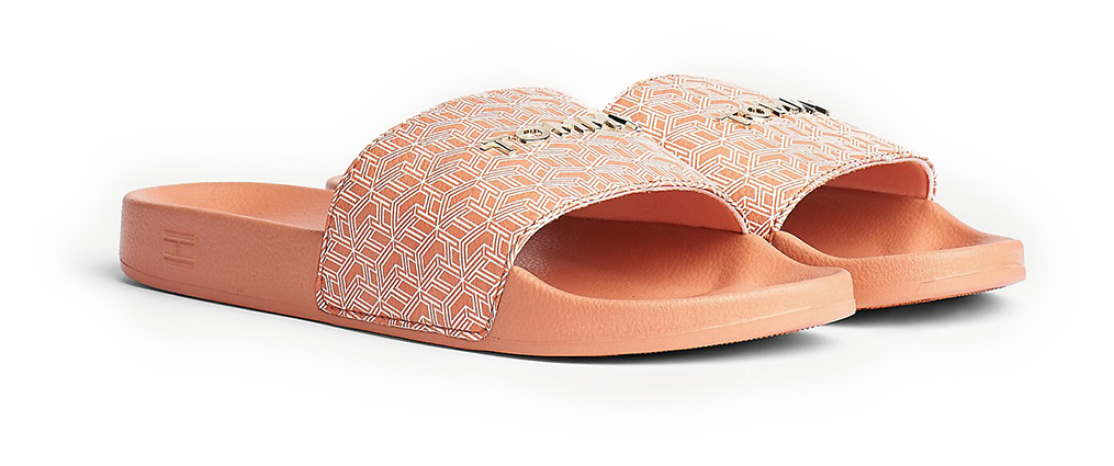 Tommy Hilfiger papuci pudra TH Mono Allover Pool Slide