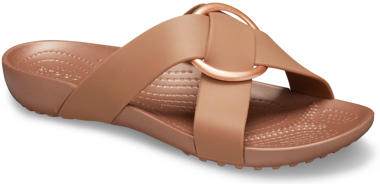 Crocs papuci maro Serena Cross Band Slide