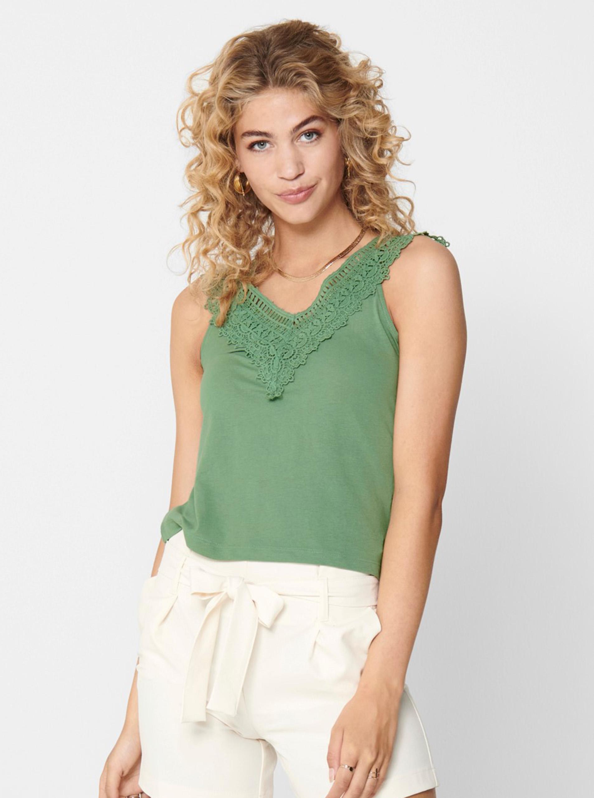 Top verde cu dantelă DOAR Victoria