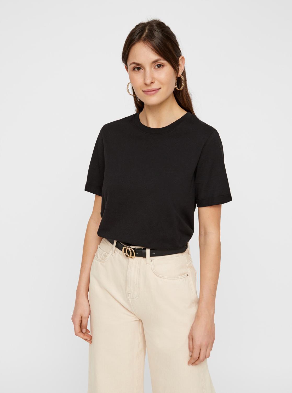 Tricou de bază negru piese Ria