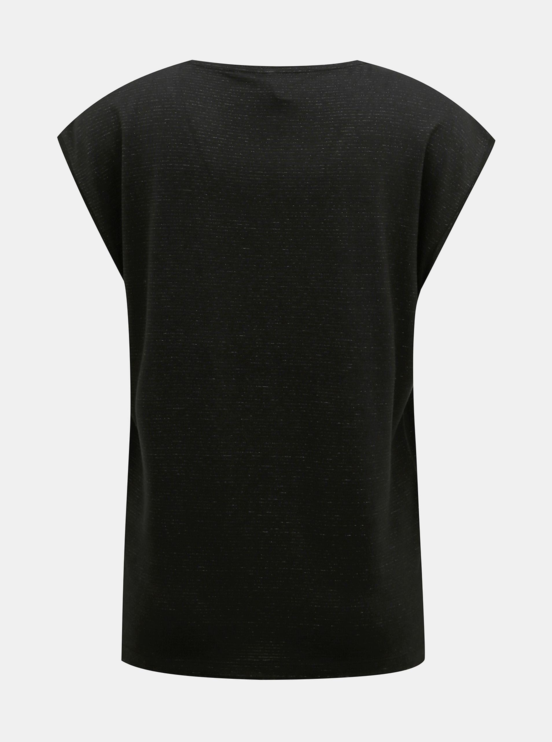 Tricou negru cu fibre metalice Piese