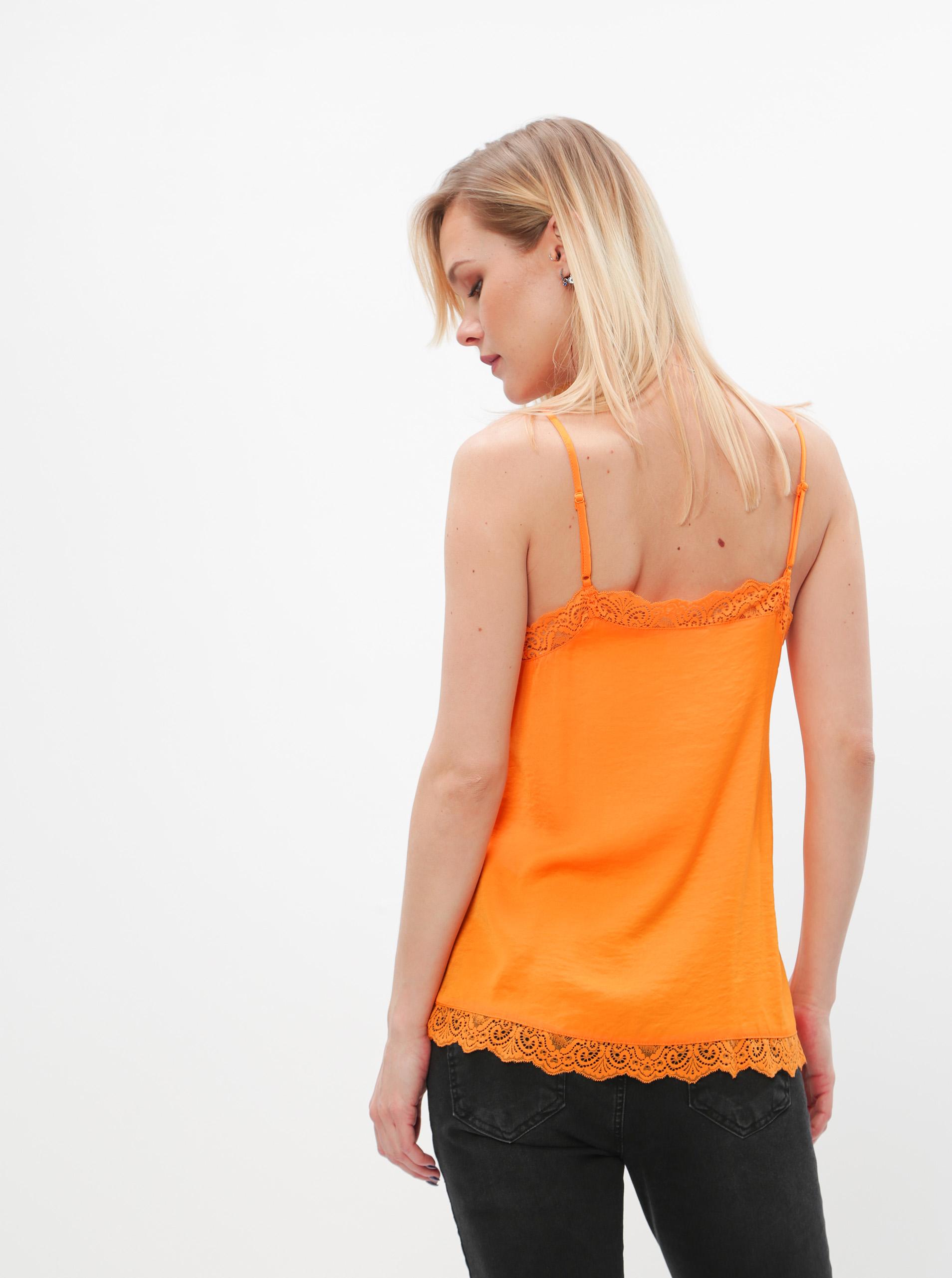 Top portocaliu cu dantelă VILA Ava