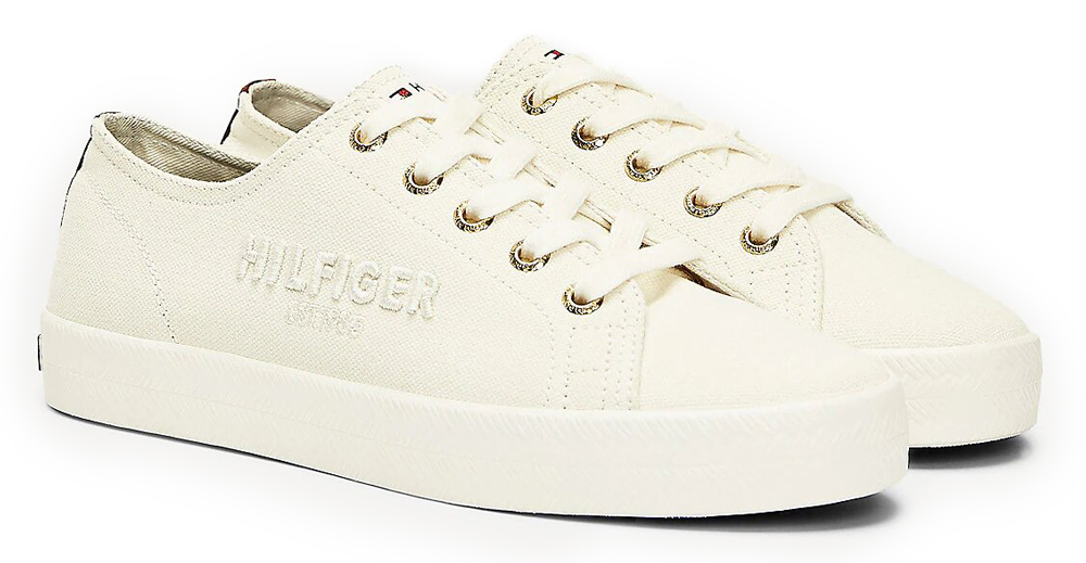 Tommy Hilfiger tenisi smantana Logo Embroidery Low Top Trainers