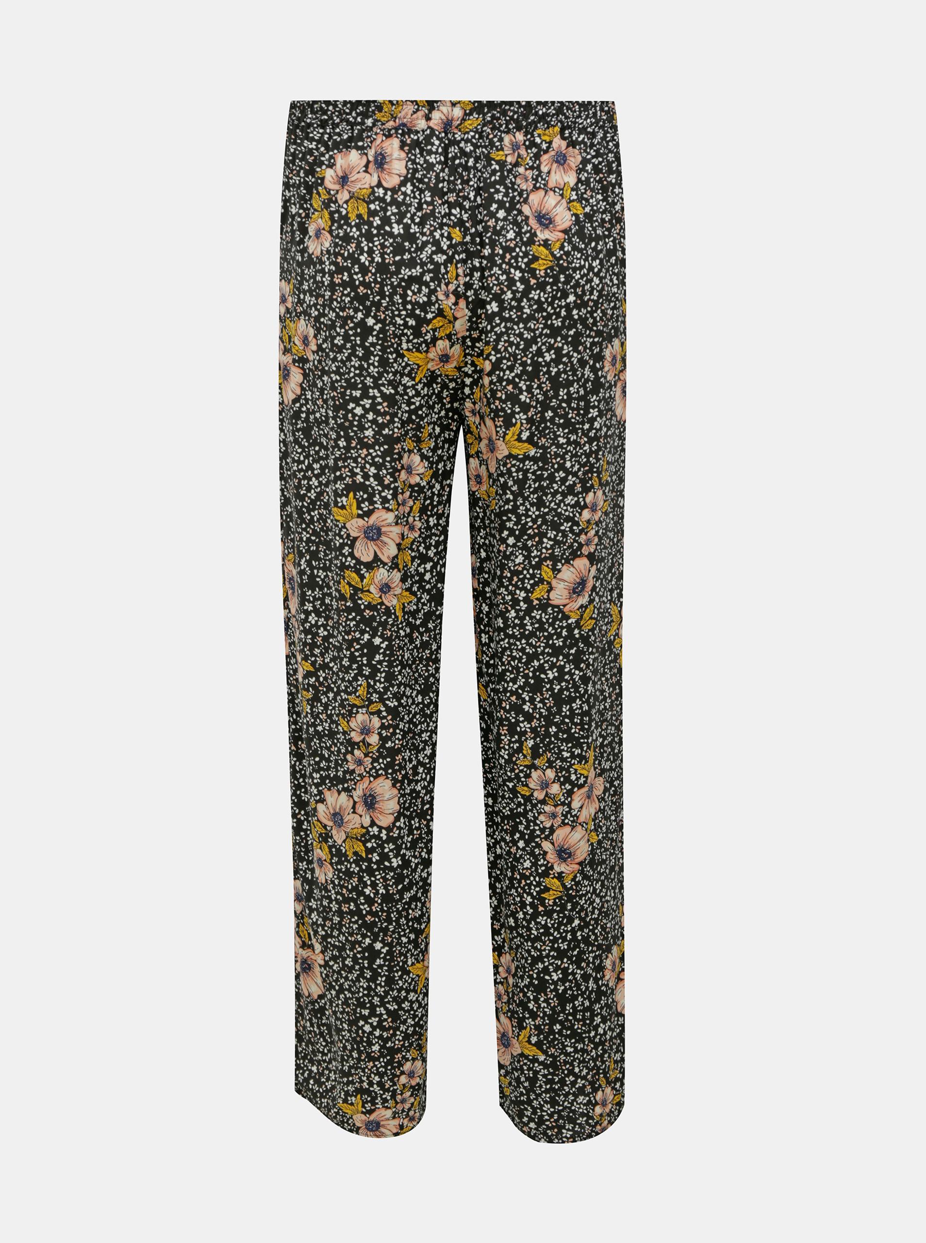 Pantaloni florali negri DOAR Nova