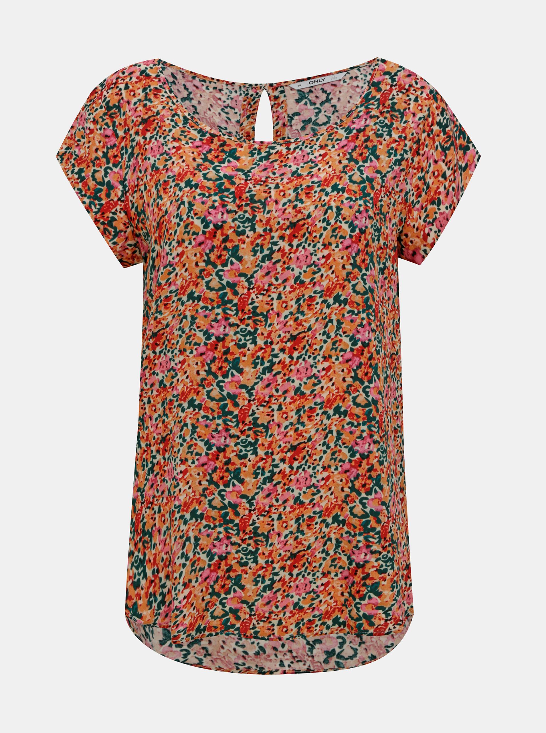Bluză cu flori roz-portocaliu DOAR Nova