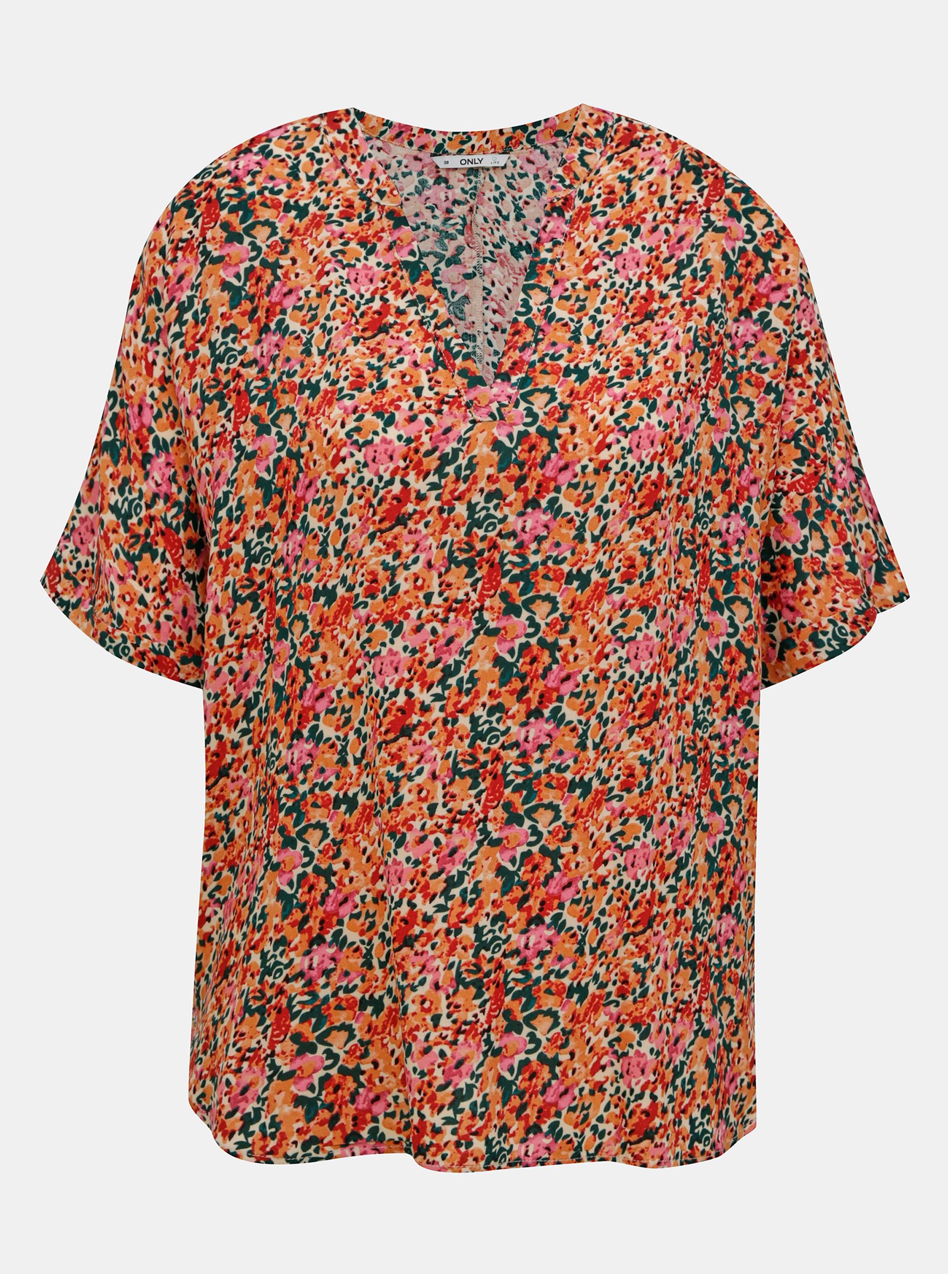 Bluză flori roz-portocaliu liber NOU Nova