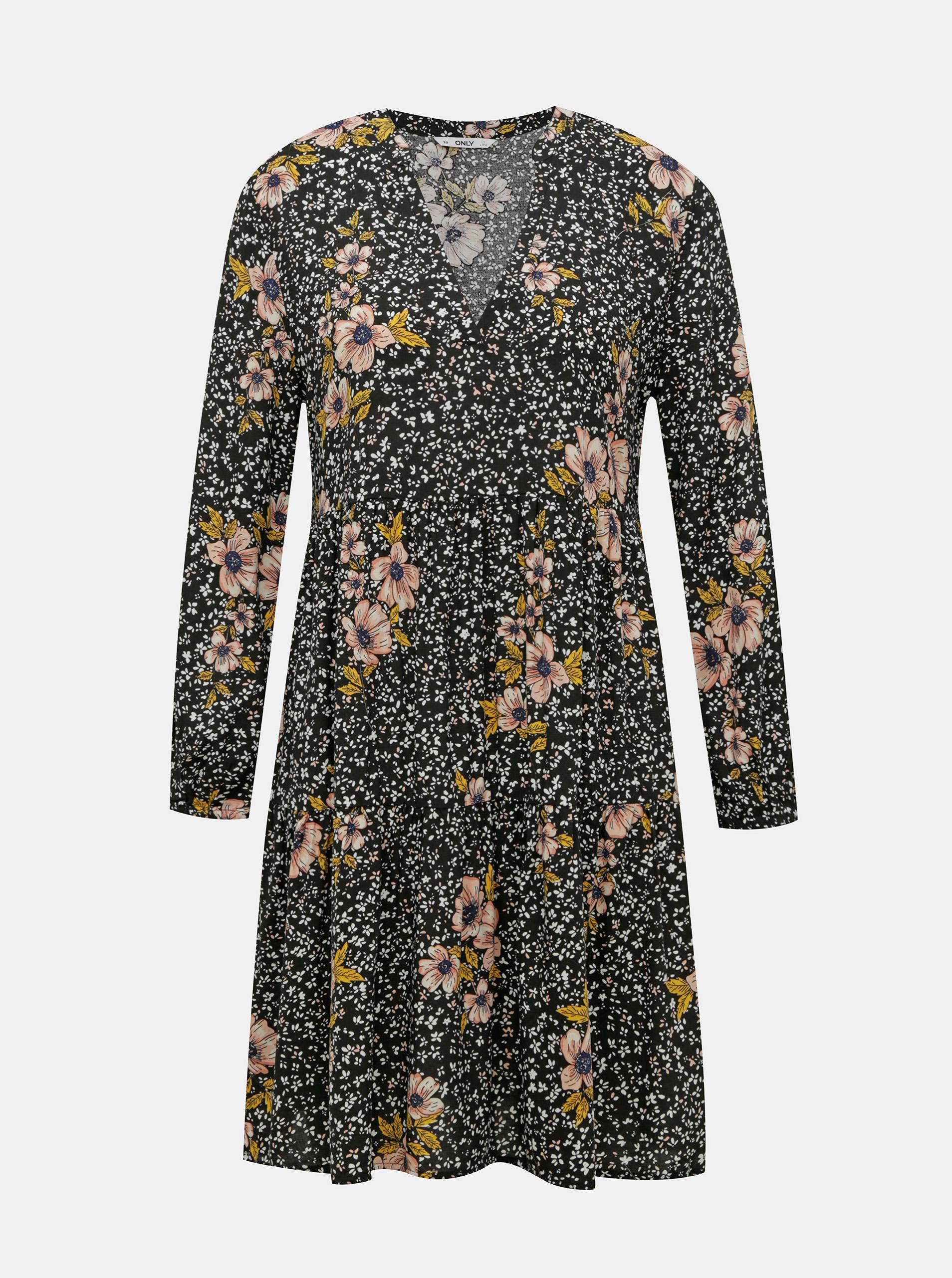 Rochie cu flori negre DOAR Thea