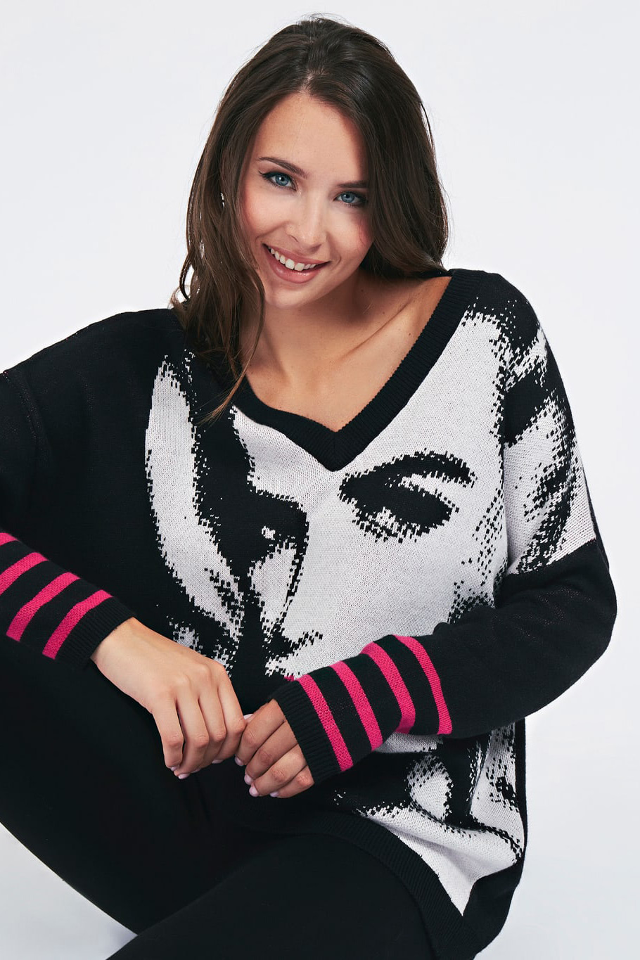 Guess negre pulover Jacquard V Neck Sweater