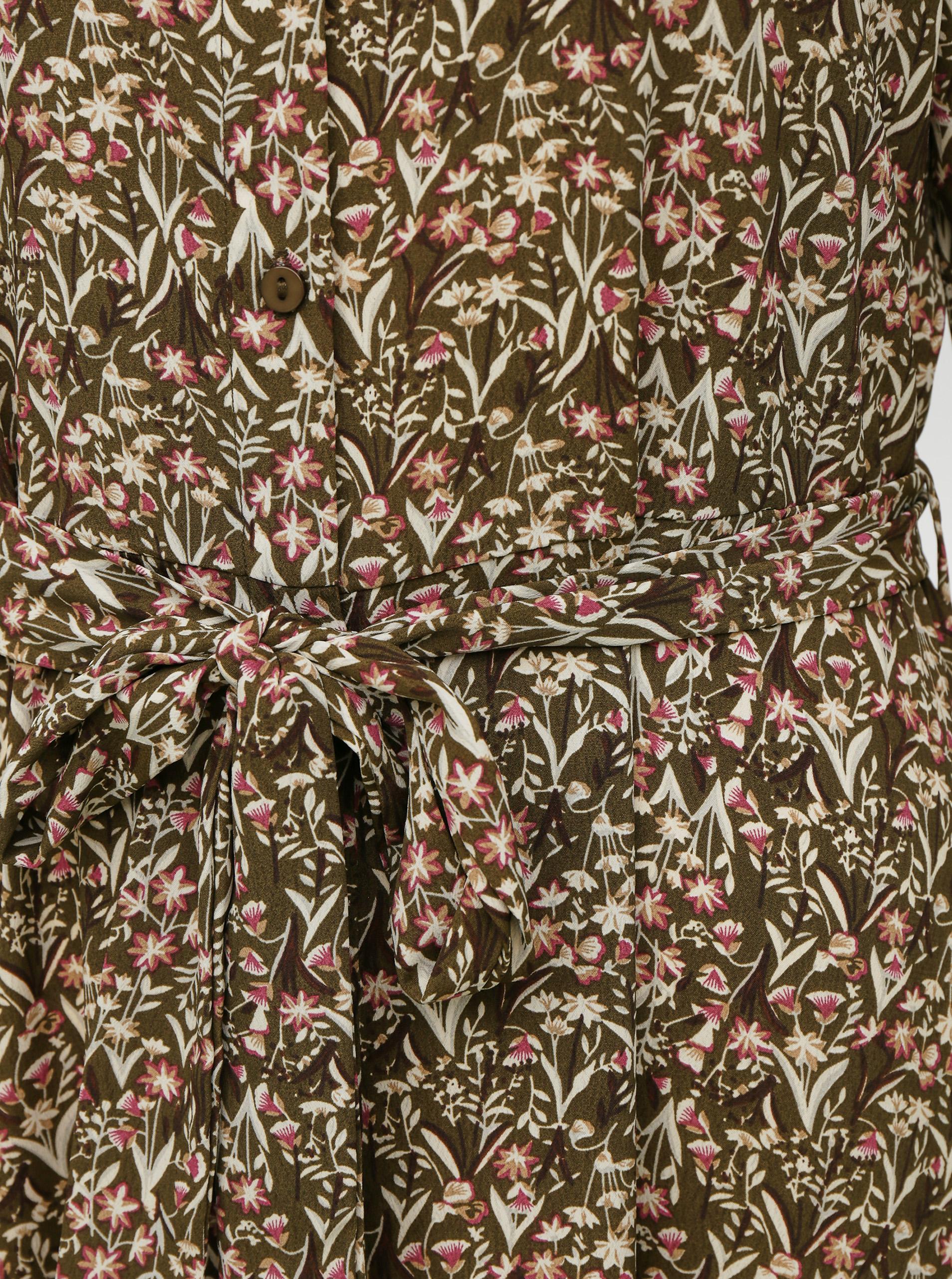 Rochie maxi cămașă cu flori kaki VERO MODA