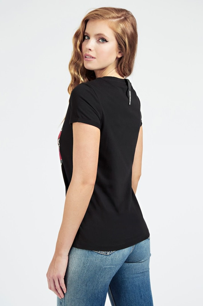 Guess negre tricou Placed Print