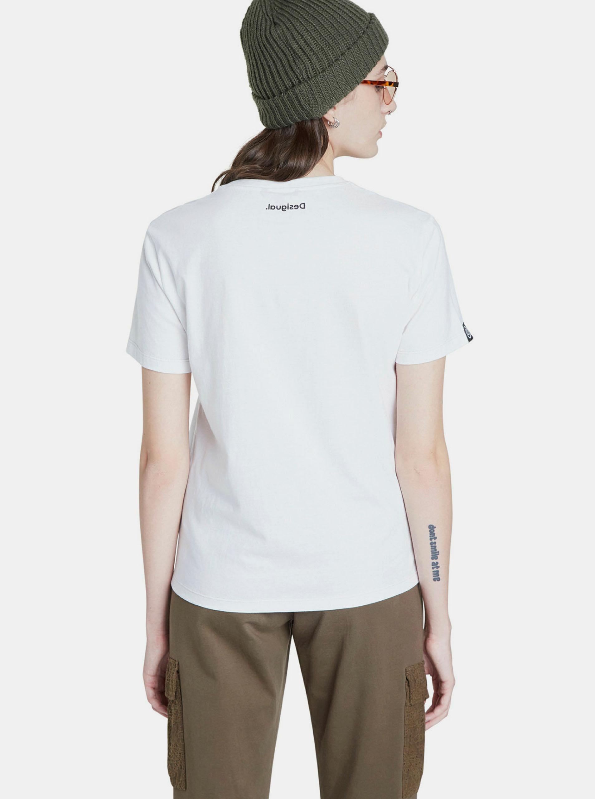 Tricou alb cu imprimeu Desigual