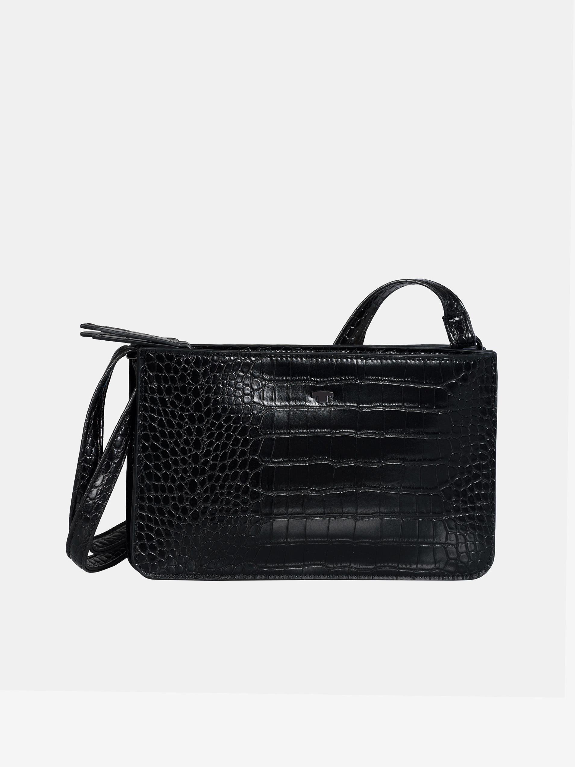 Geantă de mână neagră cu model crocodil de Tom Tailor