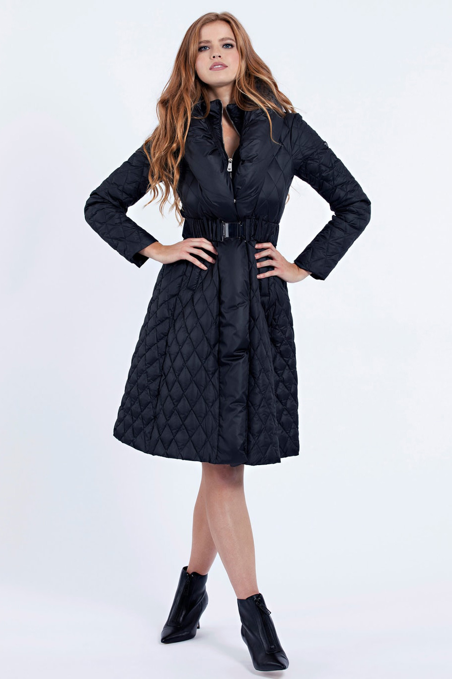 Guess negre palton Padded Belted Jacket
