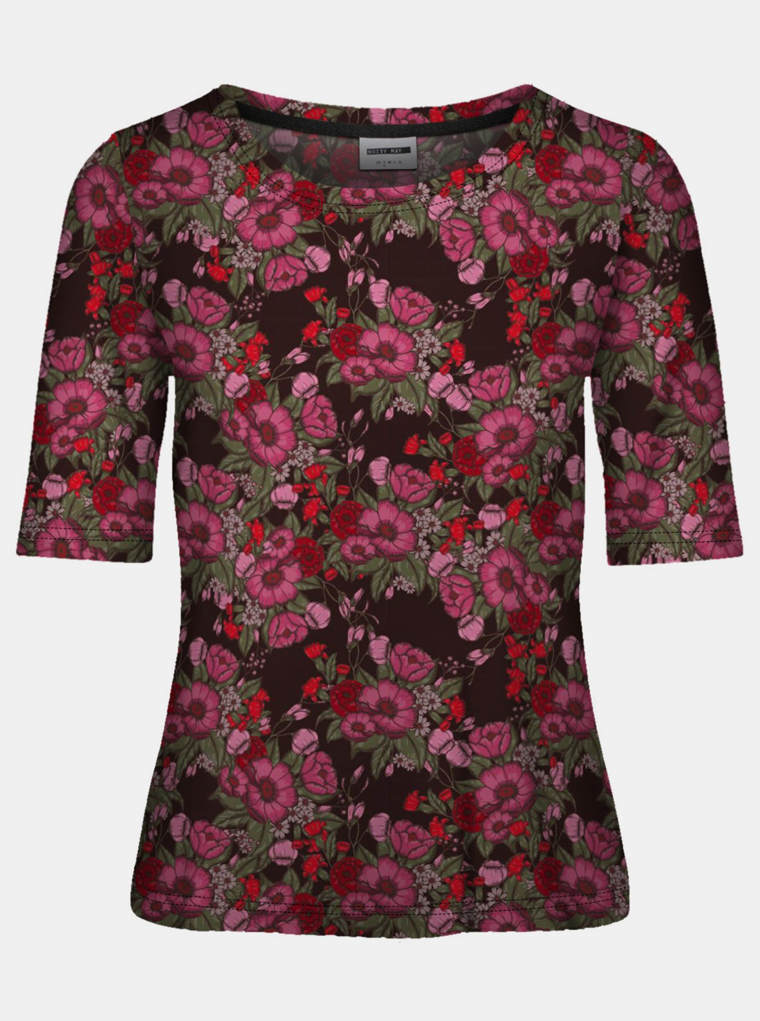 Noisy May negre tricou Sally cu motive colorate