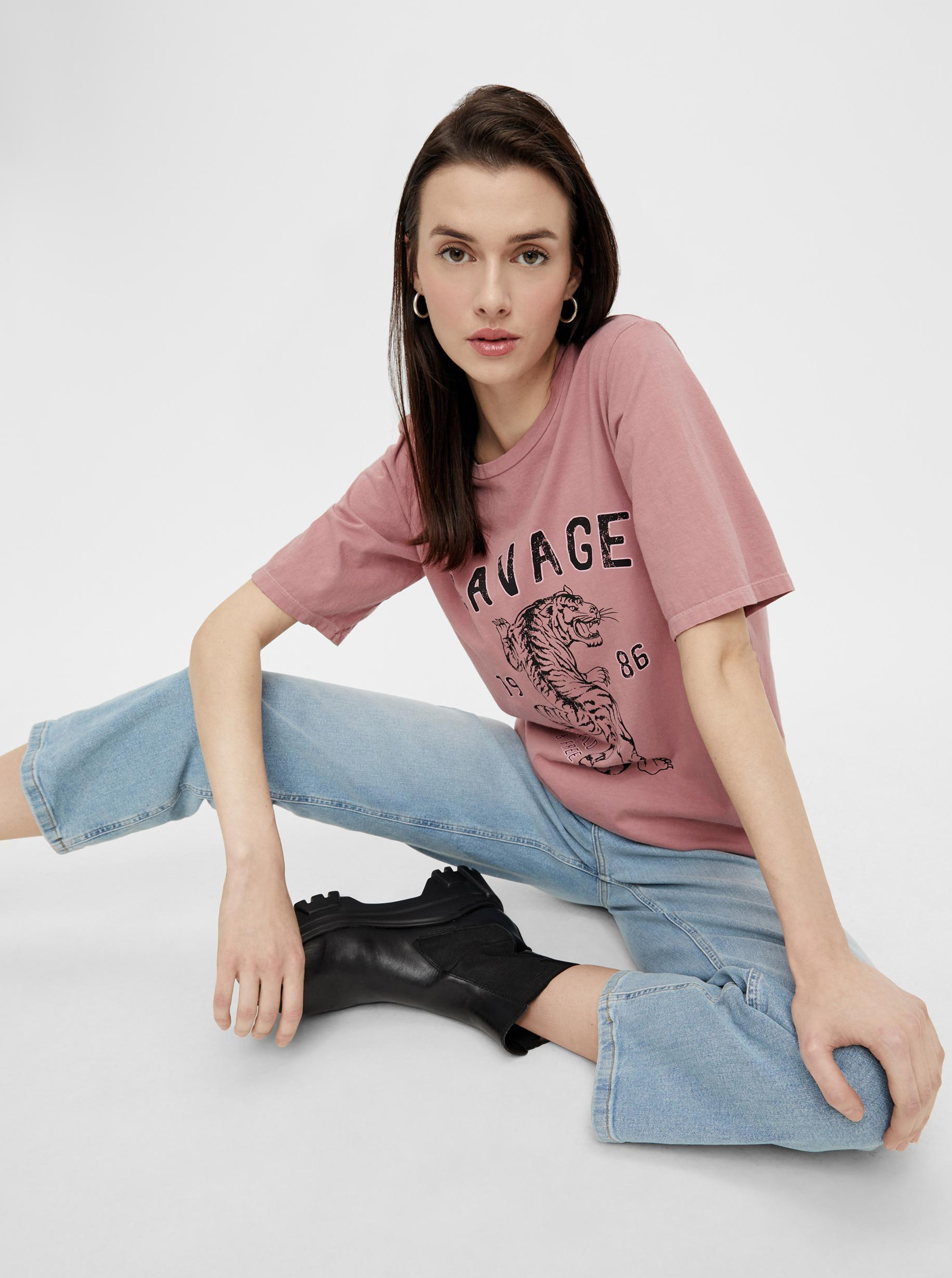 Pieces roz de dama tricou cu imprimeu