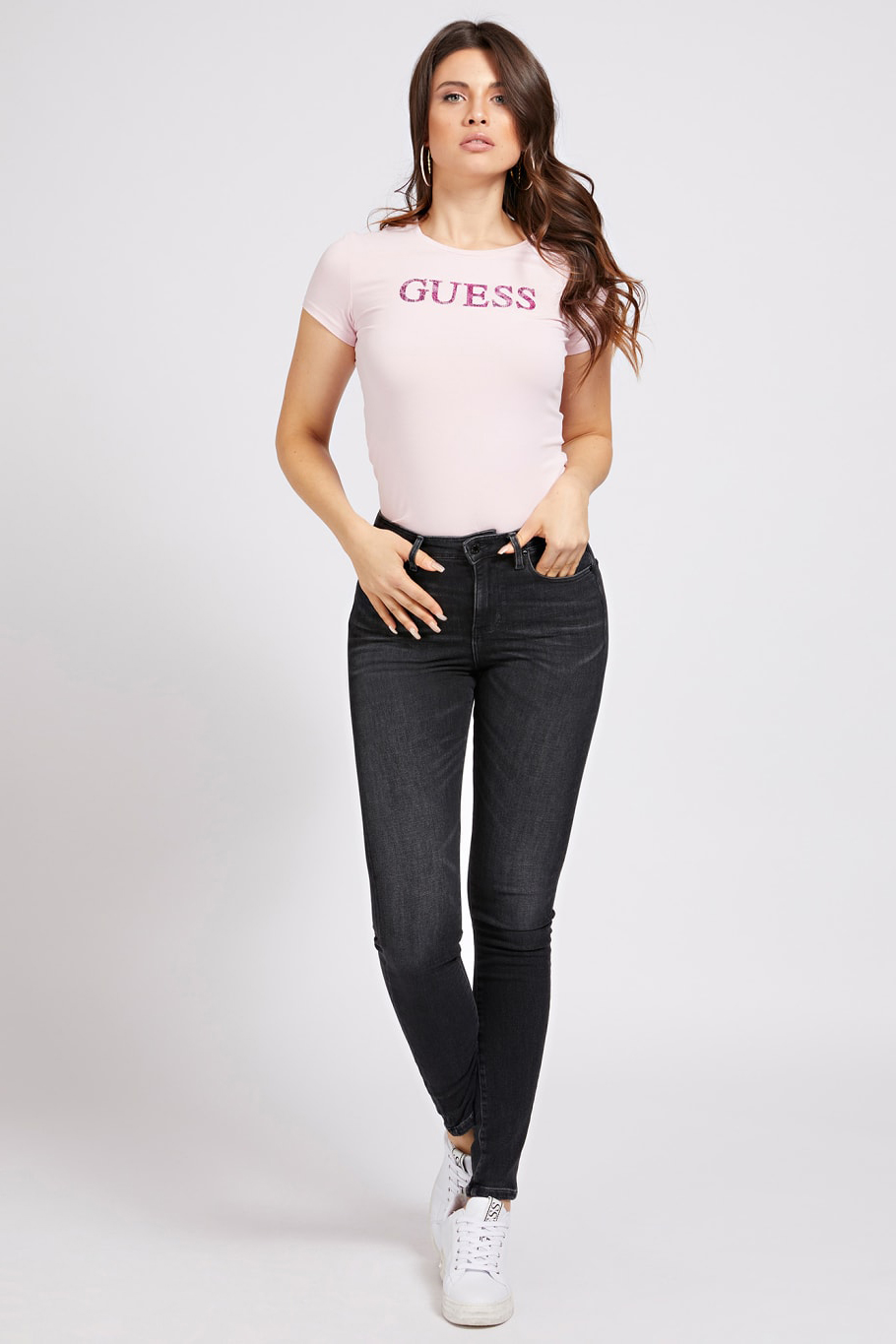 Guess pudrate tricou Glitter Front Logo