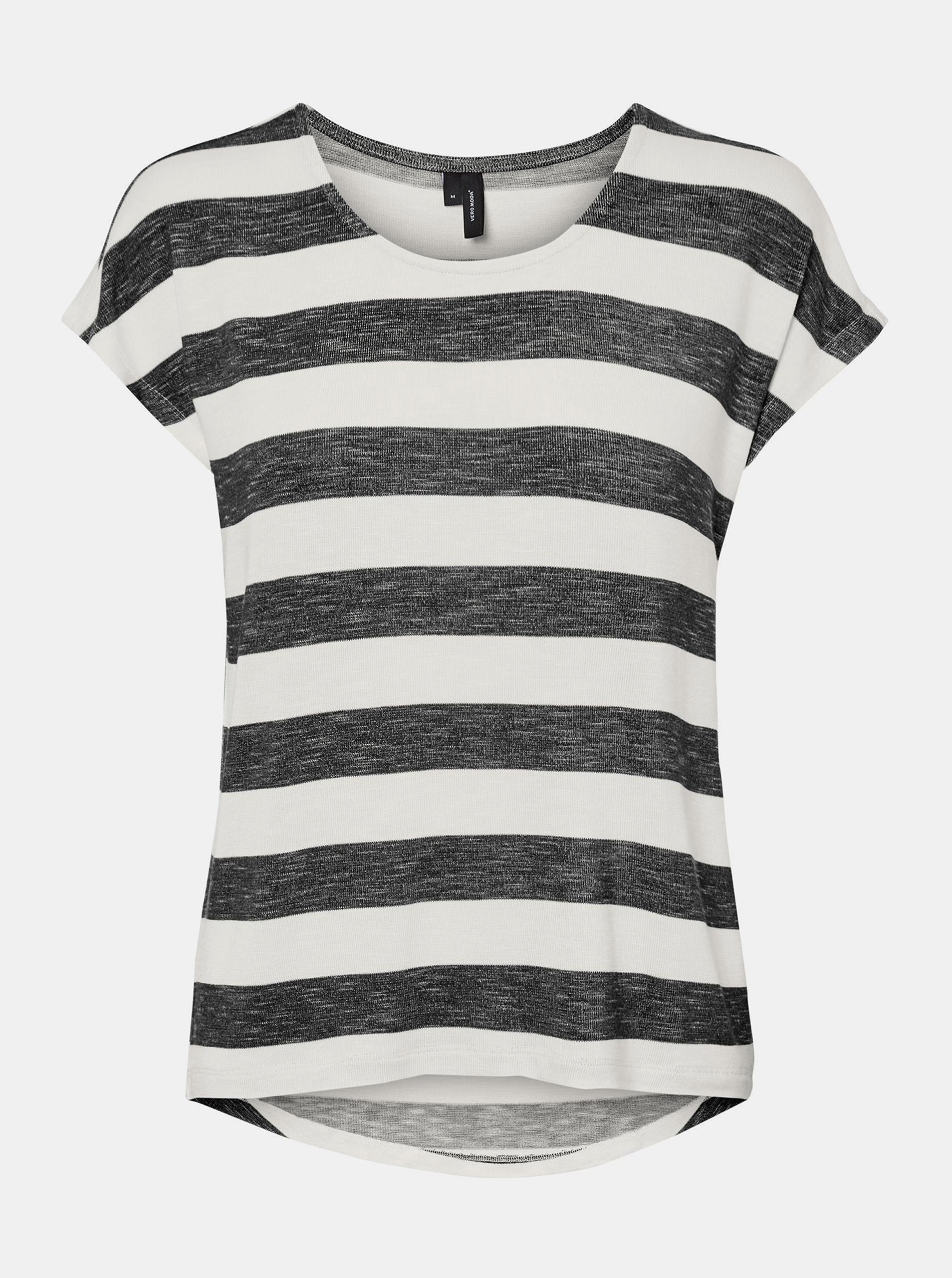 Vero Moda negre in dungi tricou Wide Stripe