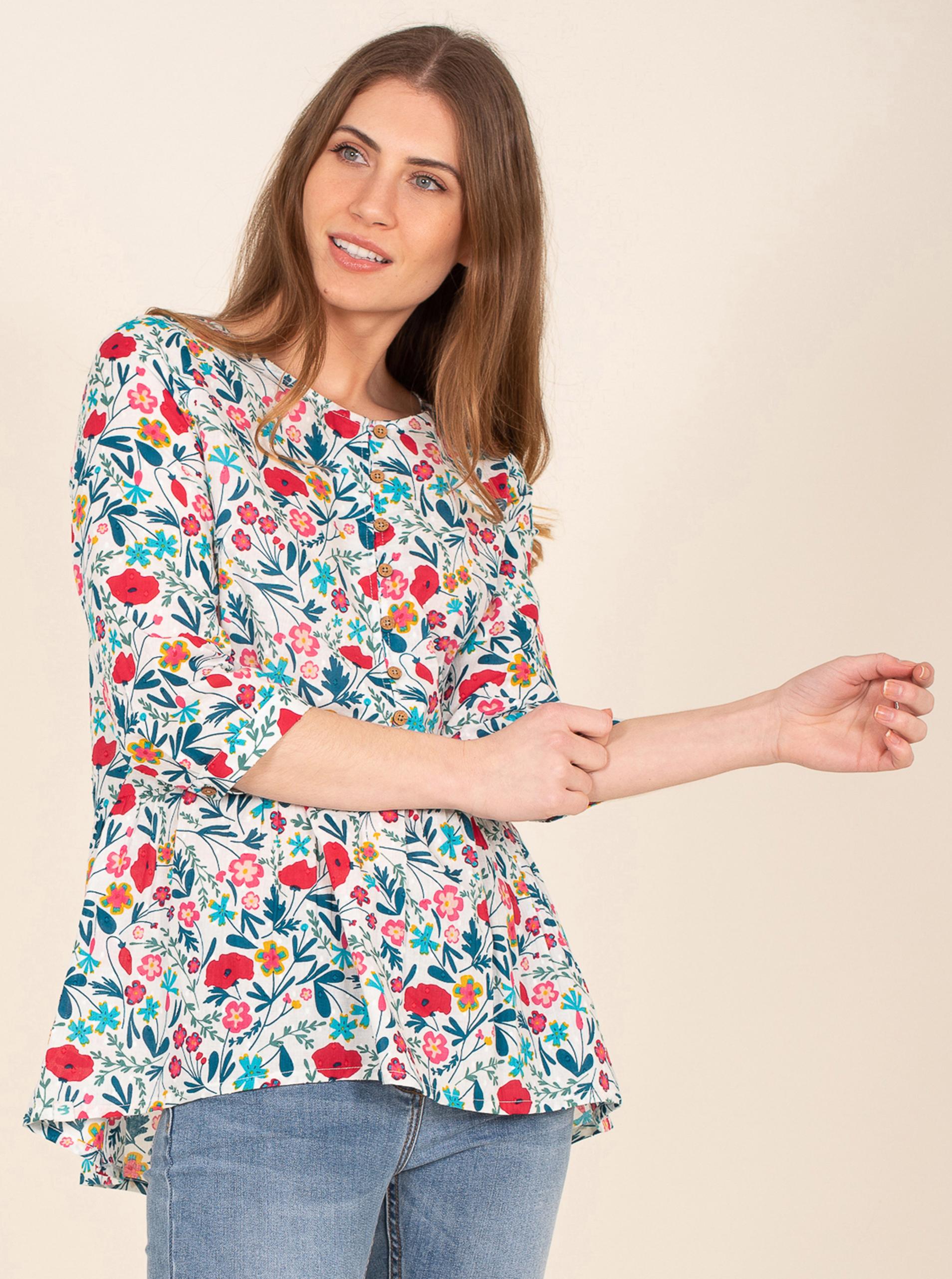 Brakeburn albe bluză cu motiv floral