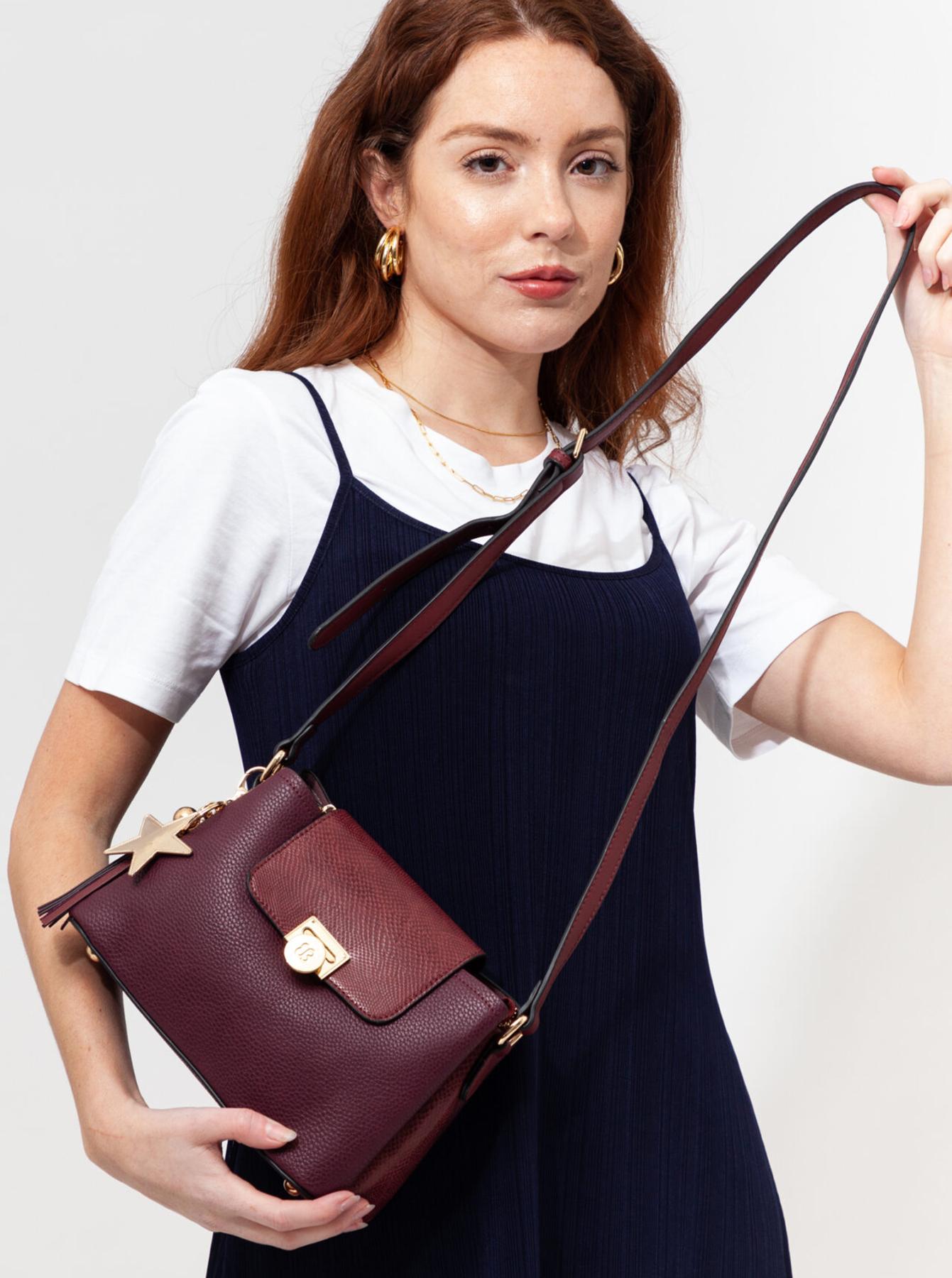 Bessie London visinii/bordo crossbody geanta